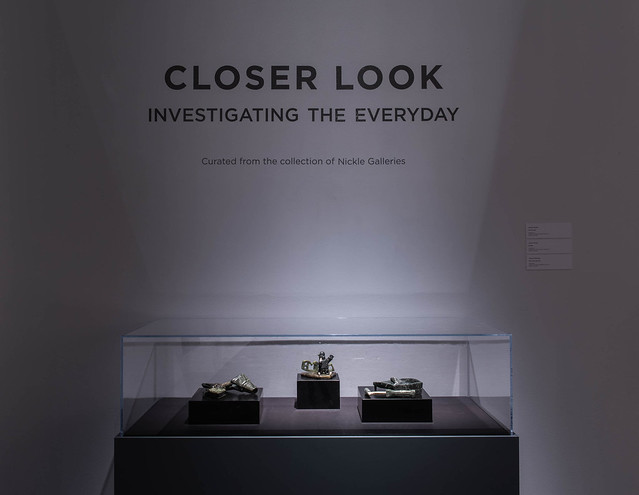 Closer Look: Investigating the Everyday (installation view, Dave Brown LCR Photo Services). Works by Johnny Manning, Jamasie Pitseolak and Johnnysa Mathewsie.