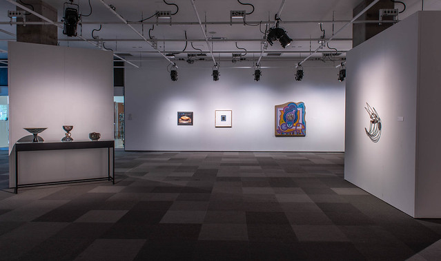 Recall: Recent Acquisitions and their New Context (installation view, Dave Brown LCR Photo Services). From left to right works by Jack Sures, John Hall, Mackenzie Kelly-Frere, Nicolas Roukes, Katie Ohe.